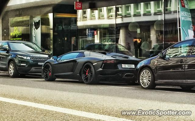 luxury car zug  Lamborghini Aventador spotted in Zug, Switzerland on 03/07/2015
