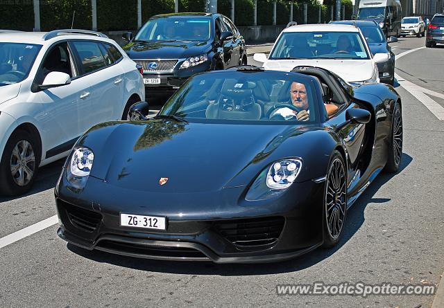 porsche 918 spyder spotted in zurich switzerland on 08 27. Black Bedroom Furniture Sets. Home Design Ideas
