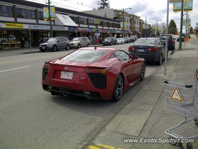 Lexus LFA spotted in Vancouver BC, Canada on 03/17/2012